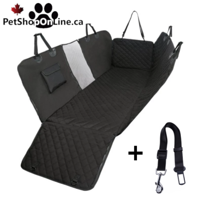 Protective cover for luxury model car seat + seatbelt.