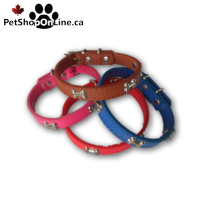 Dog collar decorated with small bones in stainless steel