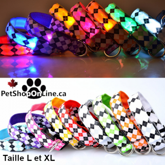Collier lumineux à LED - à carreaux