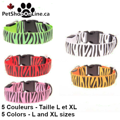 LED light dog collar - Zebra