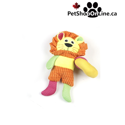 Multicolored soft toy with noisemaker, for dog - Lion