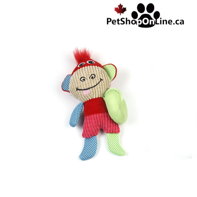 Multicolored soft toy with noisemaker, for dog - Monkey