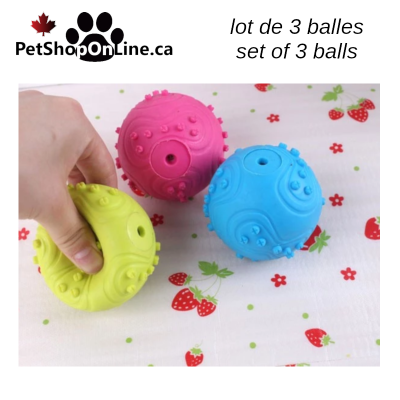 Rubber ball with squeaker - set of 3