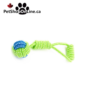 Toy in rope, ball and handle.