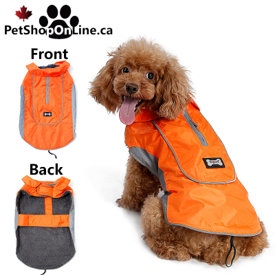 Reflective, lined and waterproof dog coat.