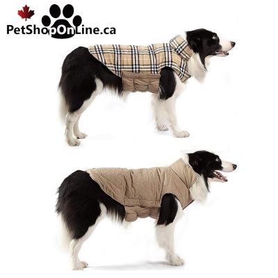 Reversible winter coat with quick coupler, for dog