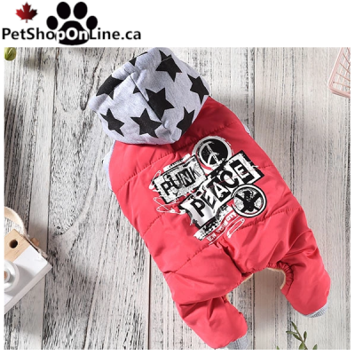 "Dog ski suit  ""punk Peace"" by Elfidog  (Red)"