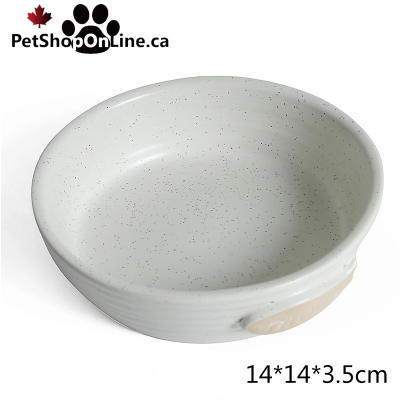 Beige ceramic bowl with embossed fish