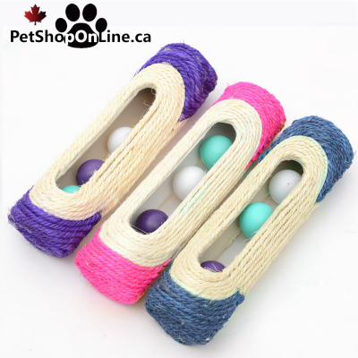 scratcher toys shaped tube with 3 balls, for cat