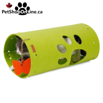 Green or gray felt cat tunnel