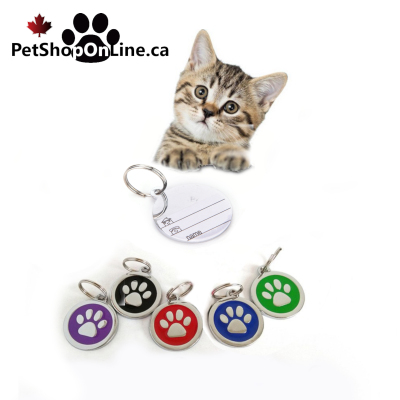 Identification medal without engraving - paw print, for dog or cat