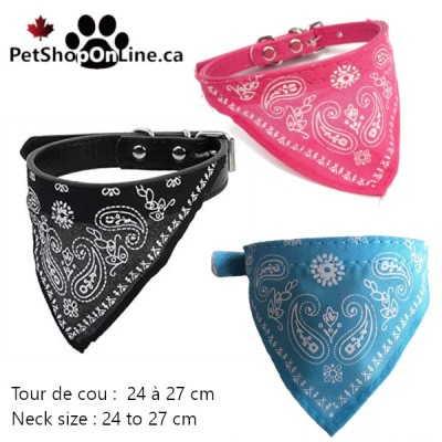 Bandana mounted on faux leather collar for cat or small dog