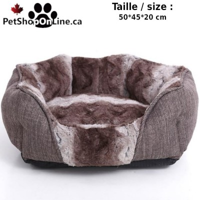 Deluxe pet bed - Brown and white striped - Round form
