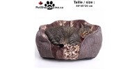 Deluxe Dog bed - Spotted Brown - Square form