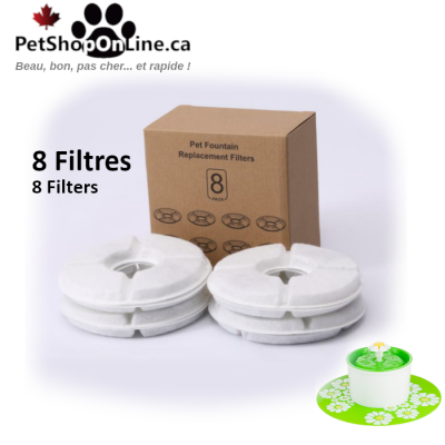 Set of 8 replacement filters for drinking fountain