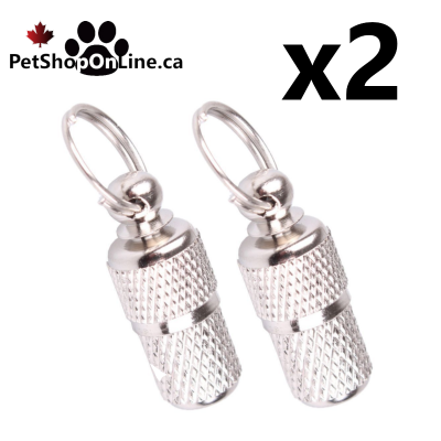 Metal identification capsule.  For dog or cat, to attach to the collar.